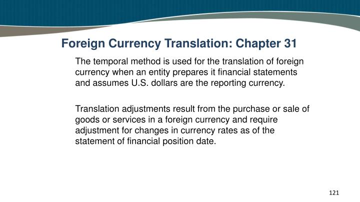 Foreign Currency Translation: Chapter 31