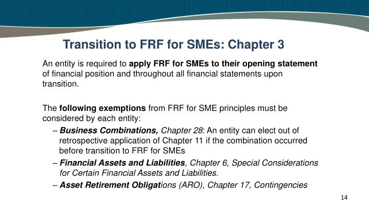 Transition to FRF for SMEs: Chapter 3