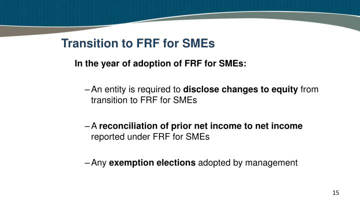 Transition to FRF for SMEs