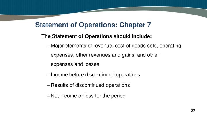 Statement of Operations: Chapter 7