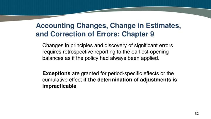 Accounting Changes, Change in Estimates, and Correction of Errors: Chapter 9