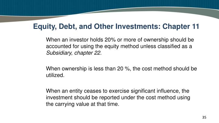 Equity, Debt, and Other Investments: Chapter 11