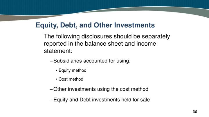 Equity, Debt, and Other Investments