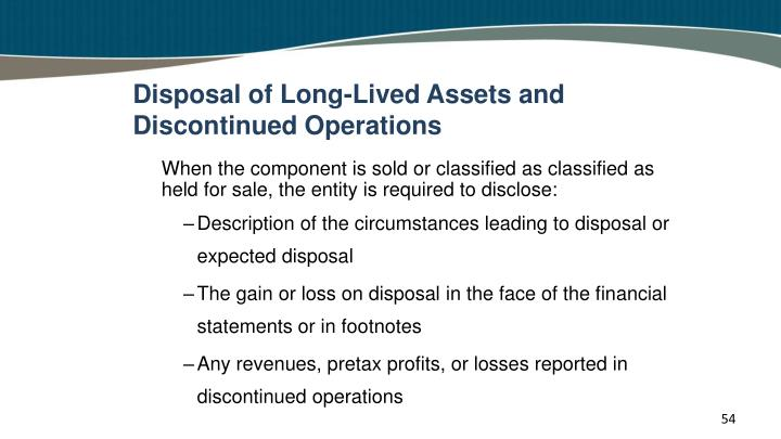 Disposal of Long-Lived Assets and Discontinued Operations