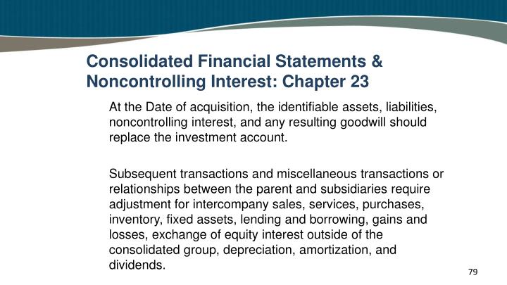 Consolidated Financial Statements & Noncontrolling Interest: Chapter 23