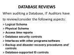 database reviews