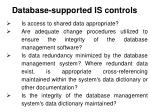 database supported is controls