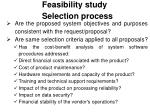 feasibility study selection process