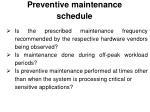 preventive maintenance schedule