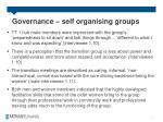 governance self organising groups