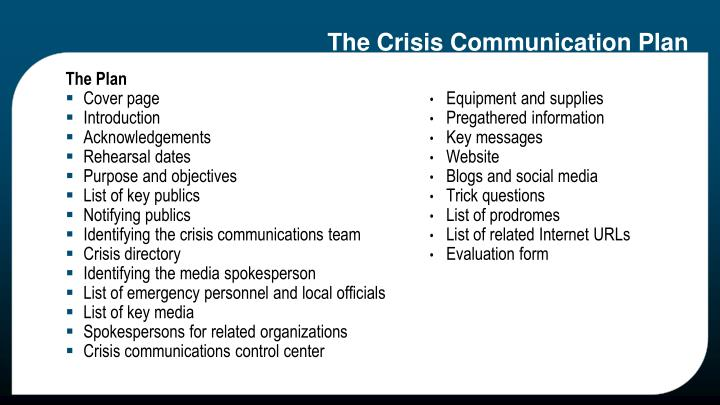 The Crisis Communication Plan