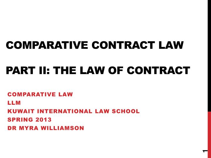 comparative contract law part ii the law of contract n.