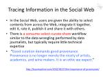 tracing information in the social web