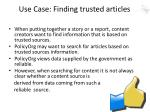 use case finding trusted articles