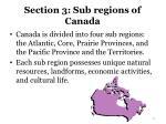 section 3 sub regions of canada