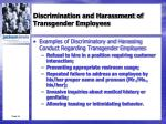 discrimination and harassment of transgender employees