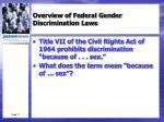 overview of federal gender discrimination laws1