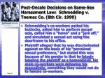 post oncale decisions on same sex harassment law schmedding v tnemec co 8th cir 1999