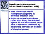 sexual reassignment surgery goins v west group minn 2000