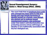 sexual reassignment surgery goins v west group minn 20005