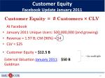 customer equity facebook update january 2011