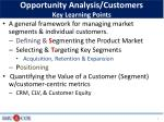 opportunity analysis customers key learning points