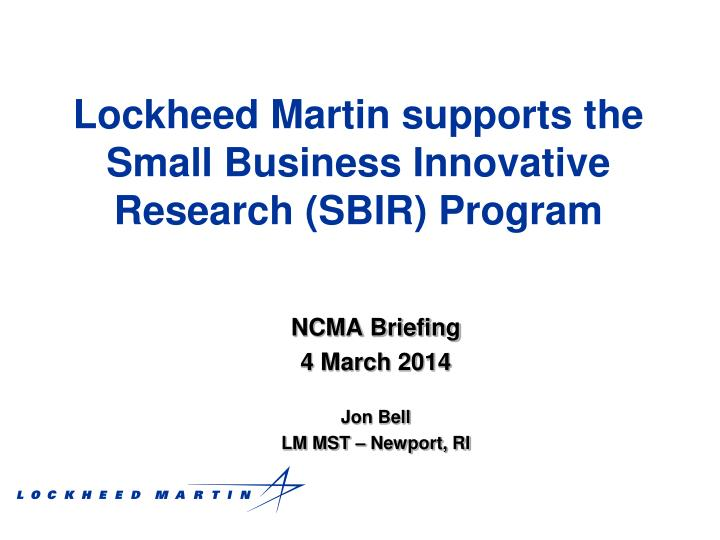 lockheed martin supports the small business innovative research sbir program n.