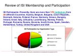 review of isi membership and participation