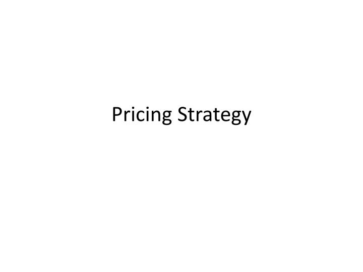 pricing strategy n.