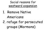 social reasons for westward expansion