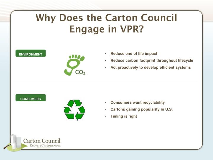 Why does the carton council engage in vpr