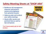 safety meeting sheets at shop ara