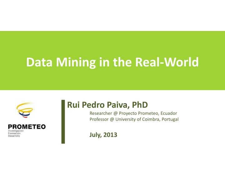 data mining in the real world n.