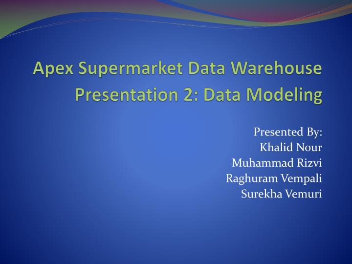 apex supermarket data warehouse n.