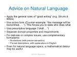 advice on natural language
