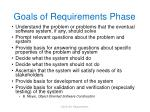 goals of requirements phase