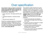 over specification