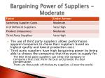bargaining power of suppliers moderate