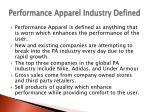 performance apparel industry defined