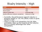 rivalry intensity high