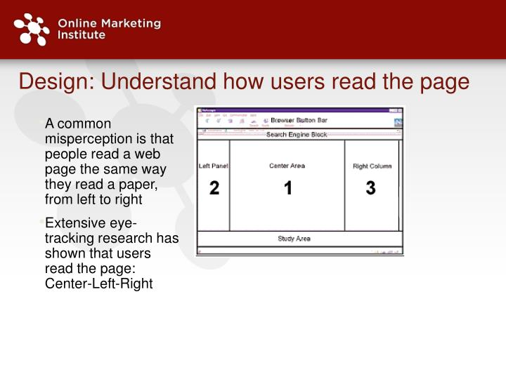 Design: Understand how users read the page