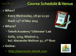 course schedule venue1