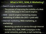 what is seo sem e marketing