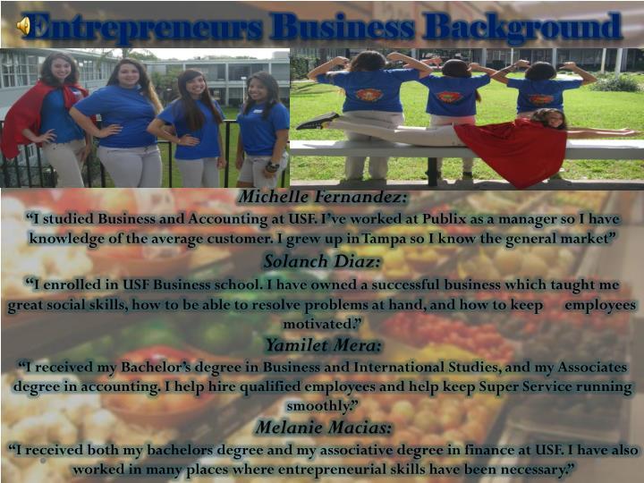 Entrepreneurs Business Background