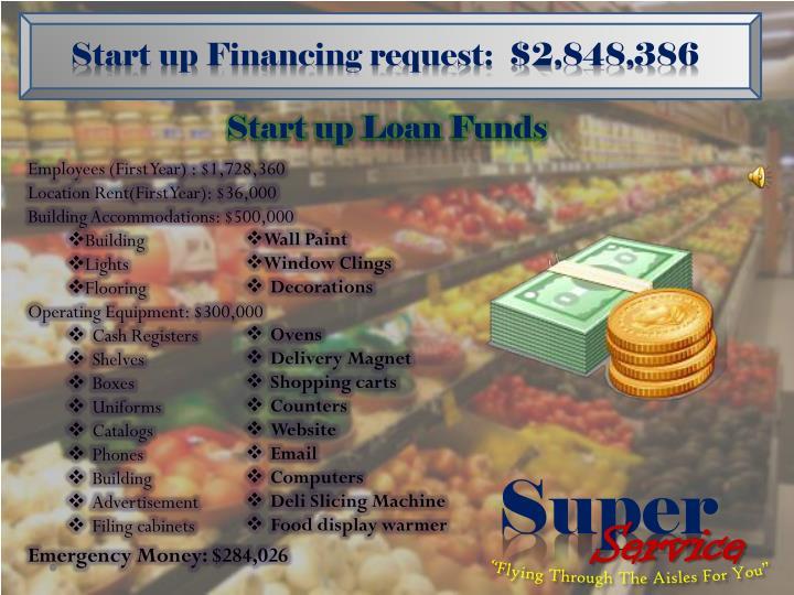 Start up Financing request:  $2,848,386