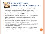 publicity and newsletter committee