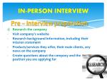 in person interview