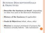 business description goals objectives
