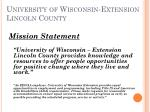 university of wisconsin extension lincoln county