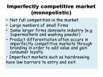 imperfectly competitive market monopolistic
